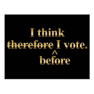 I think before I vote Libertarian gold Postcard