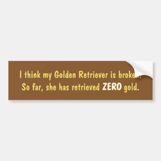 I think my Golden Retriever is broken Car Sticker