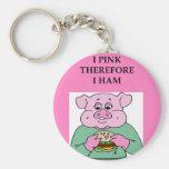 i think therefore i am ham joke basic round button keychain