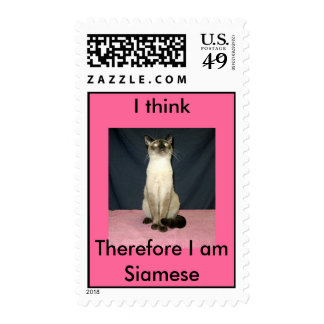I think, Therefore I am Siamese Stamp