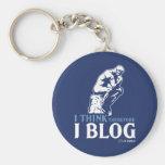 I Think, Therefore I Blog Basic Round Button Keychain