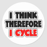I Think Therefore I Cycle Round Sticker