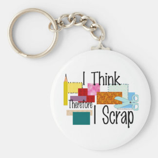 I Think Therefore I Scrap Basic Round Button Keychain