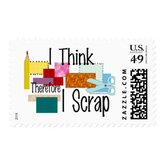 I Think Therefore I Scrap Postage Stamp