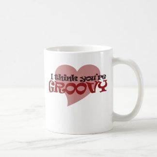 I think You're Groovy Valentine Coffee Mugs