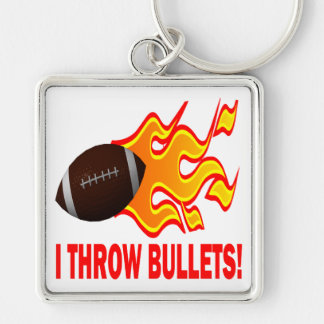 I Throw Bullets Silver-Colored Square Keychain