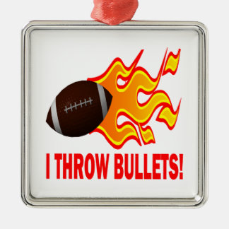 I Throw Bullets Square Metal Christmas Ornament