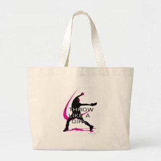 I Throw like a Girl Pink Softball Large Tote Bag