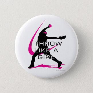 I Throw like a Girl Pink Softball Pinback Button