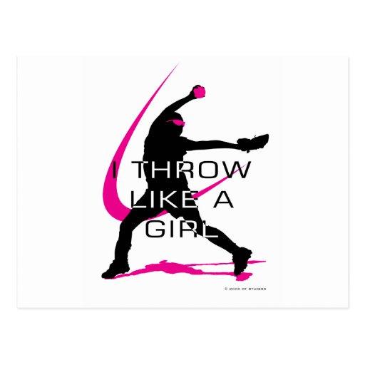 I Throw like a Girl Pink Softball Postcard