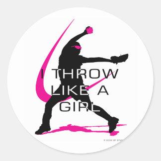I Throw like a Girl Pink Softball Round Stickers