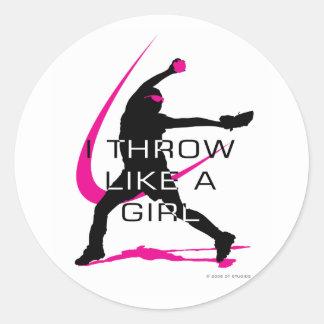 I Throw like a Girl Pink Softball Classic Round Sticker