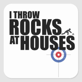 I throw rocks at houses curling square sticker