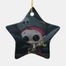 pirate, sugar, fueled, sugarfueled, michael, banks, skull, swordandthestone, creepy, cute, lowbrow, Ornament with custom graphic design