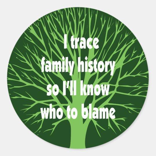 I Trace Family History Classic Round Sticker