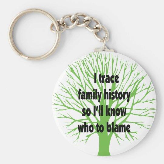 I Trace Family History Keychain