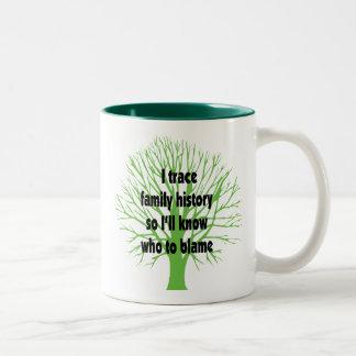 I Trace Family History Two-Tone Coffee Mug