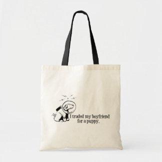 I Traded My Boyfriend For a Puppy Retro Space DOg Tote Bag