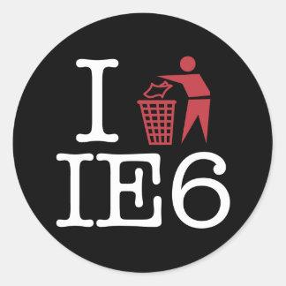 I trash IE6 Classic Round Sticker
