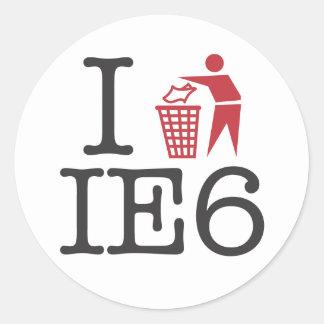 I trash IE6 Round Stickers