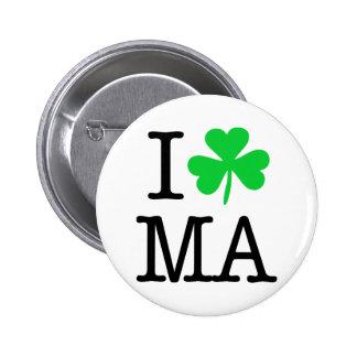 I trébol (corazón) del amor mA Massachusetts Pin Redondo De 2 Pulgadas