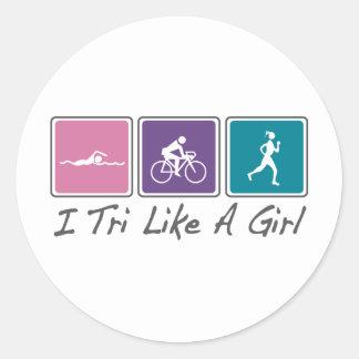 i tri como un chica (Triathlete) Pegatina Redonda