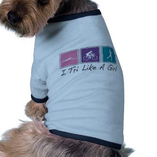 i tri como un chica (Triathlete) Camiseta Con Mangas Para Perro