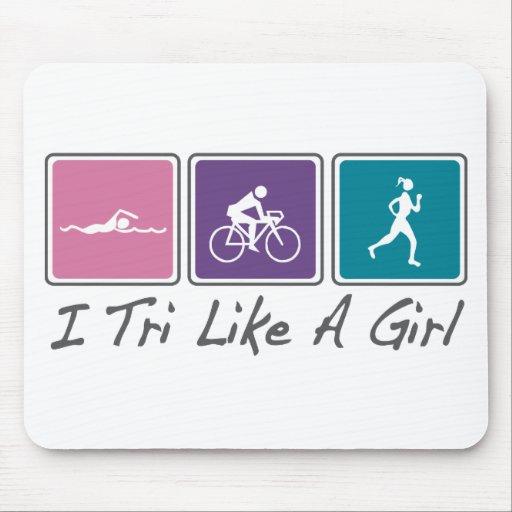 i tri como un chica (Triathlete) Alfombrillas De Raton