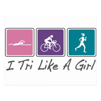 i tri como un chica (Triathlete) Tarjeta Postal