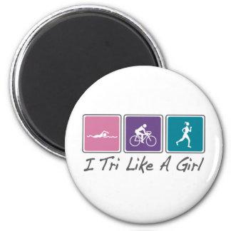 i tri like a girl (Triathlete) Magnet