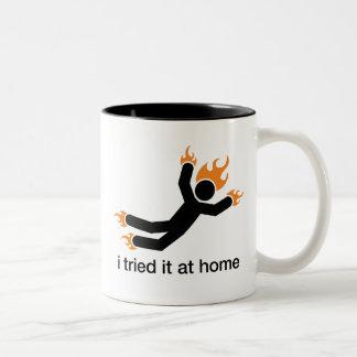 i tried it at home - i do all my own stunts funny Two-Tone coffee mug