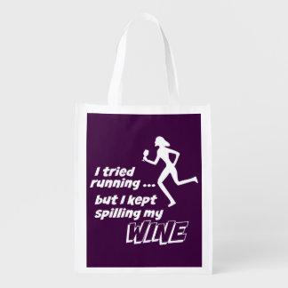 I Tried Running, But I Kept Spilling My Wine Reusable Grocery Bag