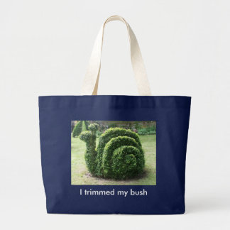 I trimmed my bush. Green snail fun shopping bag. Large Tote Bag