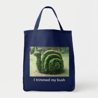 I trimmed my bush. Green snail fun shopping bag. Tote Bag