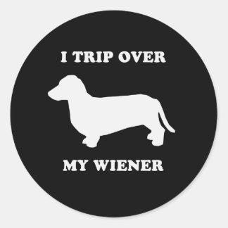 I trip over my wiener classic round sticker
