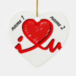 i ♥ u (corazón de i usted) ornamentos de reyes