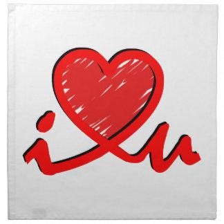 i ♥ u (corazón de i usted) servilleta de papel