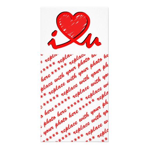 i ♥ u (corazón de i usted) tarjeta personal con foto