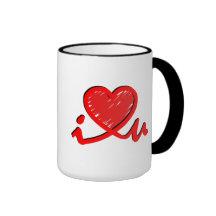 i ♥ u (i heart you) mugs