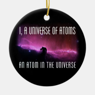 I, un universo de átomos.  Un átomo en el universo Adorno Navideño Redondo De Cerámica