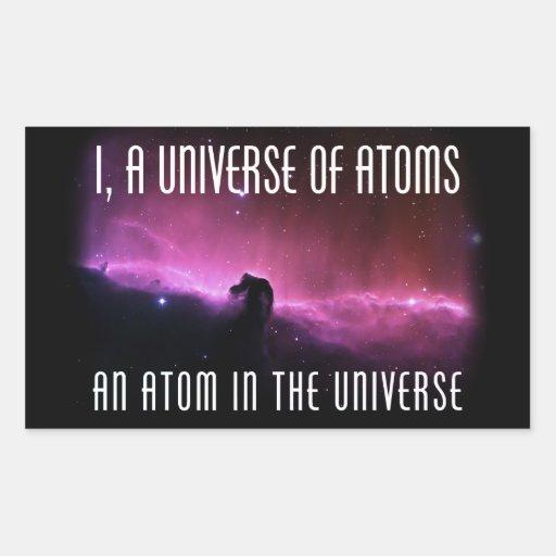 I, un universo de átomos.  Un átomo en el universo Pegatina Rectangular