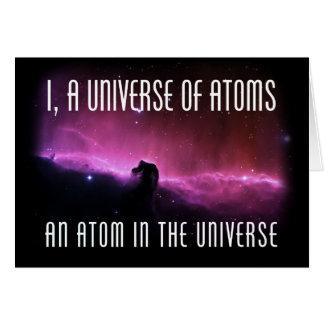 I, un universo de átomos.  Un átomo en el universo Tarjeta