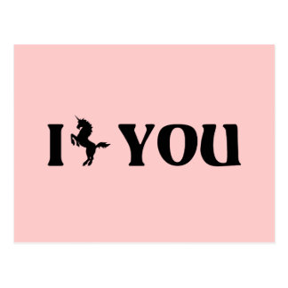 I unicornio usted (negro) tarjeta postal