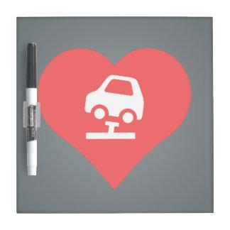 I vector de los coches de la fijación del corazón pizarra blanca