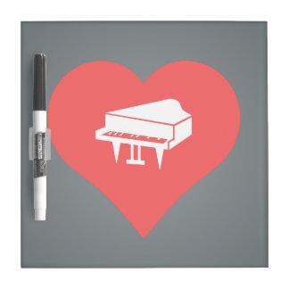 I vector de los pianos de concierto del corazón pizarra blanca