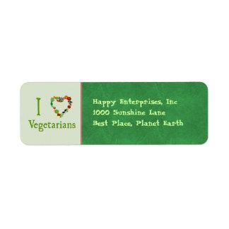 I vegetarianos del corazón etiquetas de remite
