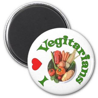 I vegetarianos del corazón imán redondo 5 cm