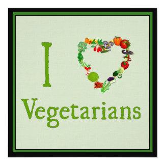 I vegetarianos del corazón invitación 13,3 cm x 13,3cm