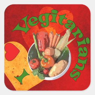 I vegetarianos del corazón calcomania cuadrada personalizada