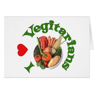 I vegetarianos del corazón tarjeta de felicitación